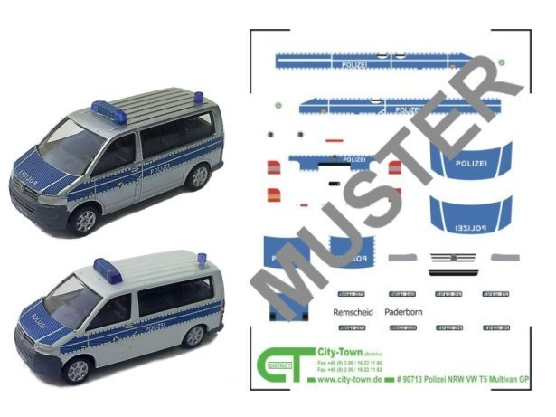 Polizeidecal Bus blau Spur N 1:160